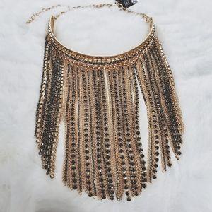 INC Gold & Black Rhinestone Fringe Necklace NWT